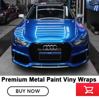 Glossy metallic vinyl Gloss Metallic Cerulean Blue car Wrapping film bubble free 5 Years Warranty for Singapore Korea market