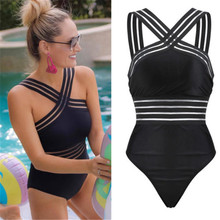 34a5f7613d117 2019 Sexy One Piece Swimsuit Women High Neck Bandage Cross Back Neck  Monokini Black Swimwear Vintage