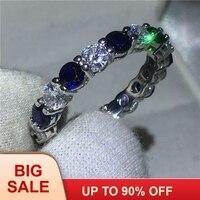 Классическое женское кольцо бесконечность 925 серебро синий 5A циркон Cz обручальные Обручальные кольца для женщин Свадебные украшения