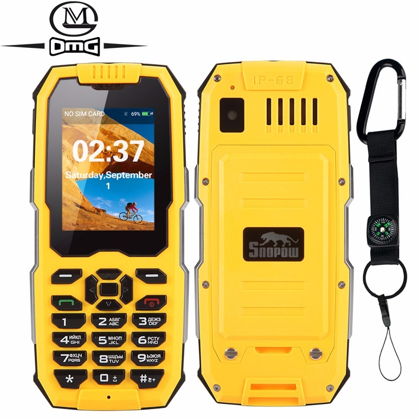 Russian keyboard IP68 Waterproof Shockproof mobile Phone 2500mAh Unlocked flashlight Telphones Dual SIM cell phones Snopow