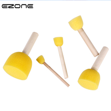 EZONE 5PCS Paint Brush Different Size Wooden Handel Sponge Brushes For Children Watercolor Painting DIY Graffiti Gift Kids