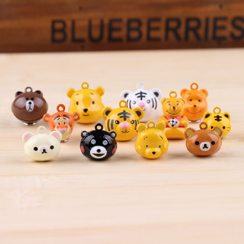 6pcs diy Jewelry Accessories Cartoon Animal Bells Pet Tiger Head Bear Keychain Pendant(China)