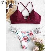 ZAFUL Women Sexy SwimwearBraided Strap Flower Bikini Set Beach Suit Wire Free Padded Floral Summer Beach Wear Swimming Suit