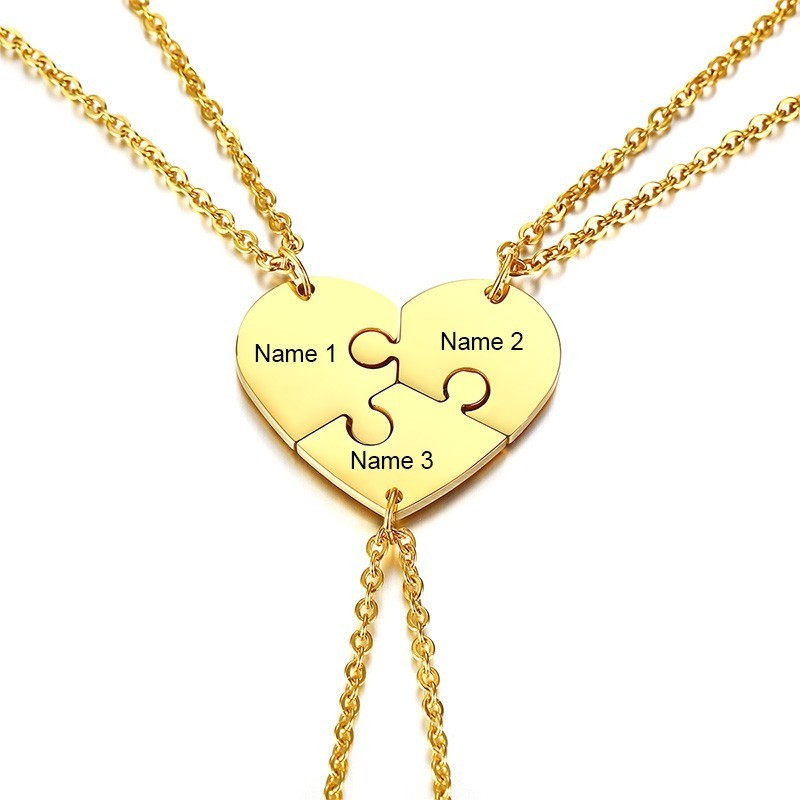 Heart Set of 3 Best Friends Love Forever Friendship Necklaces Stainless Steel Puzzle Pendant Free Engraving Name Couple Gift image