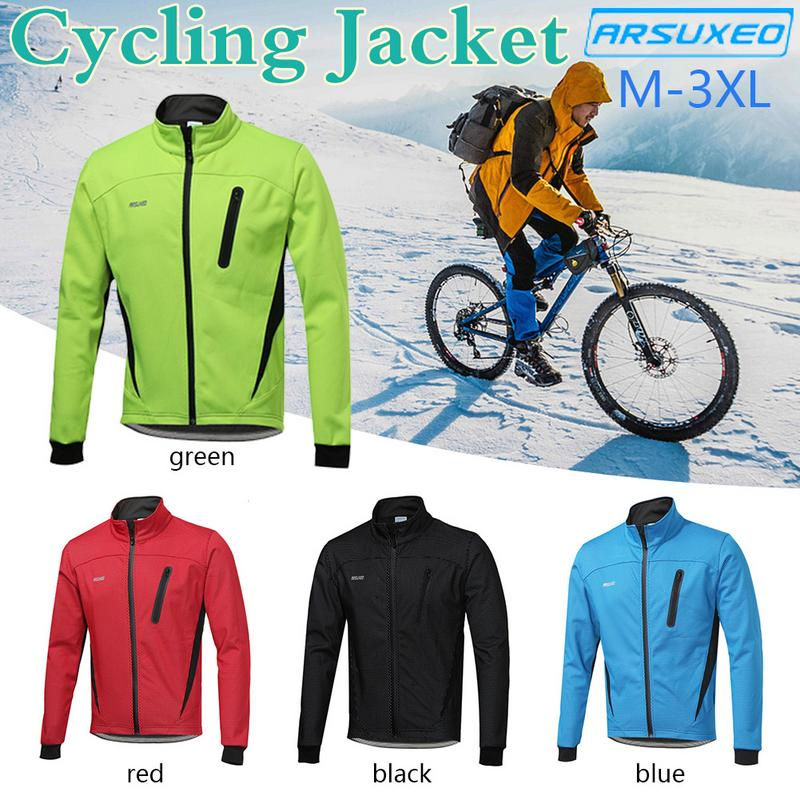 Camping & Hiking Cheap Sale For Arsuxeo Cycling Jacket Winter Warm Up Fleece Bicycle Clothing Windproof Waterproof Sports Coat Mtb Bike Jersey 16h Clear-Cut Texture