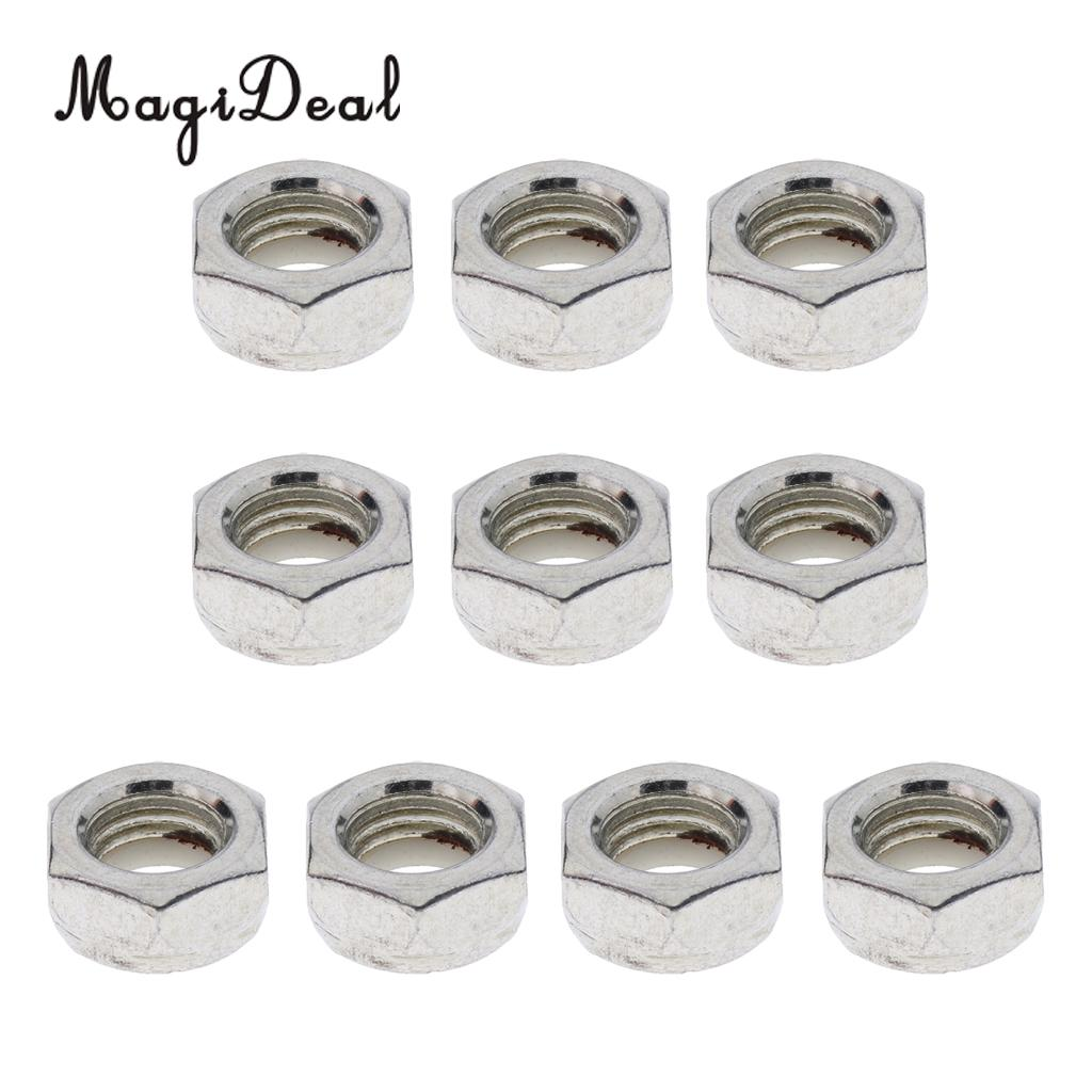MagiDeal 10pcs Durable Skateboard Longboard Truck Wheel Axle Mounting Screw Nuts Replacement For Longboard Hardware Accessories