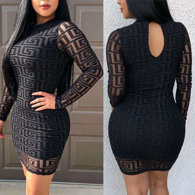 Brand New Fashion Women Sexy Ladies O-Neck Black Dress Bandage Bodycon Long Sleeve  Party Cocktail Short Mini Dress 3
