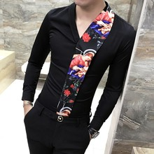 Fashion Splice Flower Shirt Printing Man Camisa Masculina Spring New Pattern Long Sleeve Slim Fit Shirts Nightclub Chemise Homme