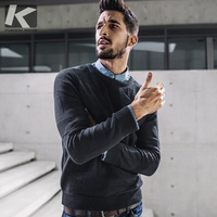 KUEGOU новые осенние мужские свитера с рисунком черного цвета, вязаная брендовая одежда, мужская облегающая трикотажная одежда, пуловеры, мужс...