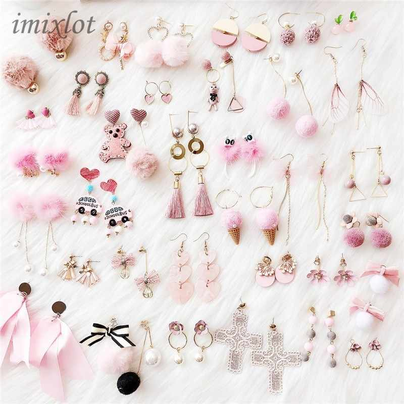 Korean Girl Simple Pink Geometry Star Heart Bow Ice Cream Cross Flower Lace Tassel Drop Earrings for Fashion Women Jewelry