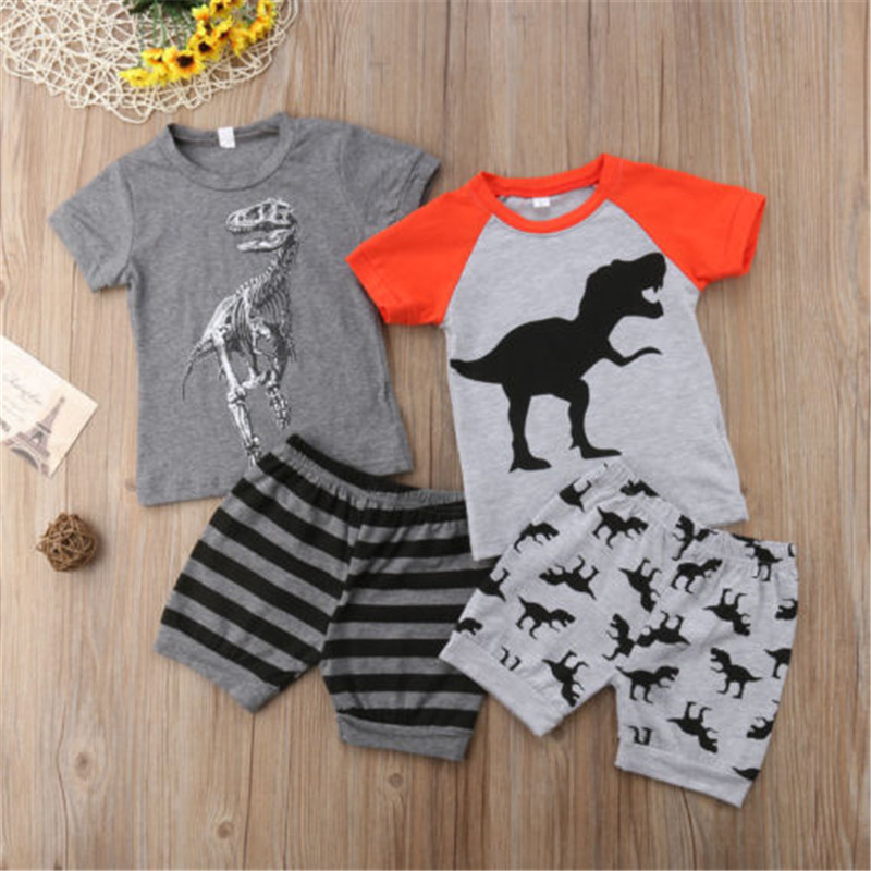 Cute Infant Baby Dinosaur Print T-shirt Tops+Short Pants Outfit Baby Boy Clothes Set Summer Baby Boys Clothing