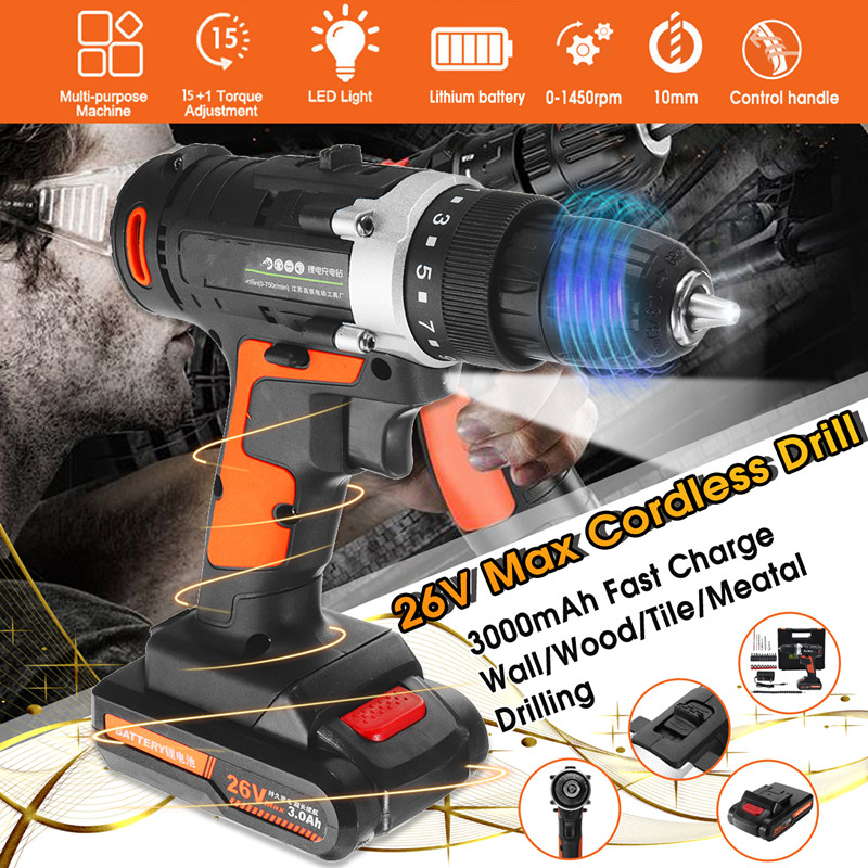 Doersupp 26V Electric Drill Cordless Hammer Drill Impact Hand Battery Electric Screwdriver Multifunction Power Tools WaterProofDoersupp 26V Electric Drill Cordless Hammer Drill Impact Hand Battery Electric Screwdriver Multifunction Power Tools WaterProof