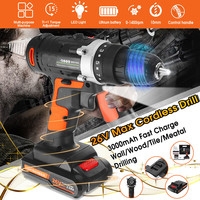 Doersupp 26V Electric Drill Cordless Hammer Drill Impact Hand Battery Electric Screwdriver Multifunction Power Tools WaterProof
