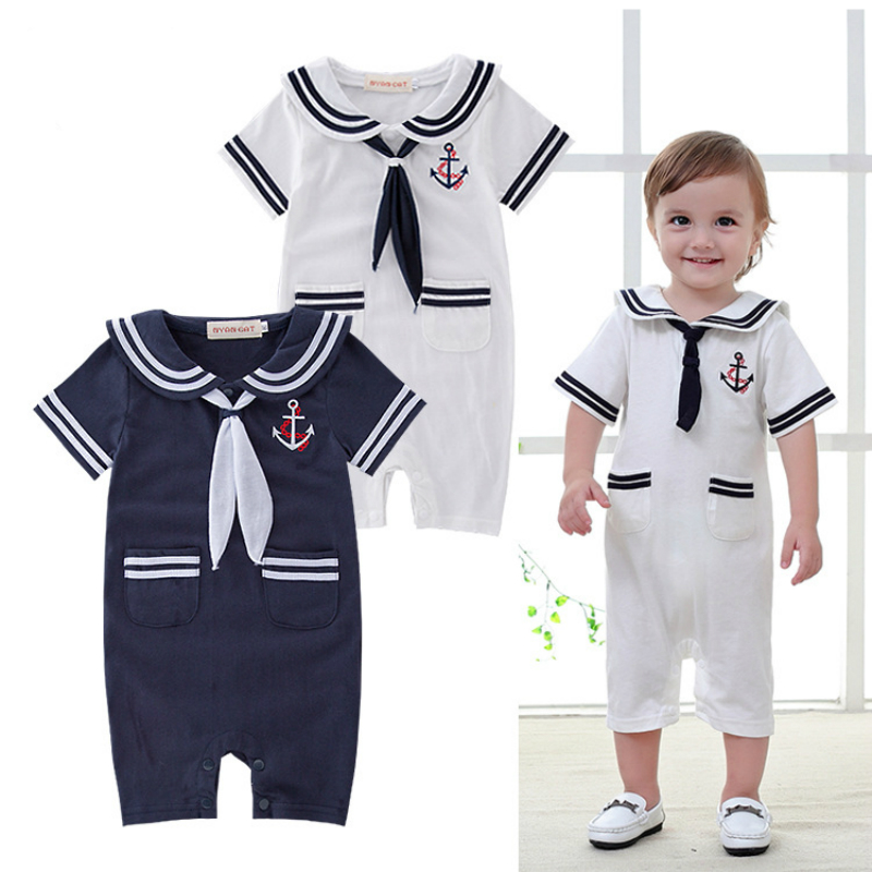 Summer   Rompers   For Baby Boys Sailor Suit Navy Style Comfortable Baby Clothes Kid Clothing Breathable New Year Suit For Boys