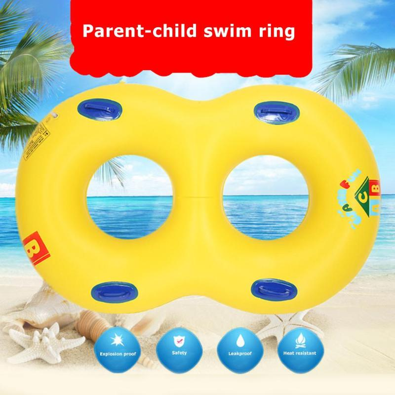 1set Seat Circle Double Baby Swimming Ring Mother Child Inflatable Swimming Ring Baby Infant Float Double Swim Circle