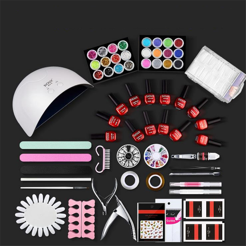 Nail Art Set UV LED LAMP Dryer Gel Nail Polish Set Kit Nail Tools Gel Varnish Lacquer Manicure Tools Kit