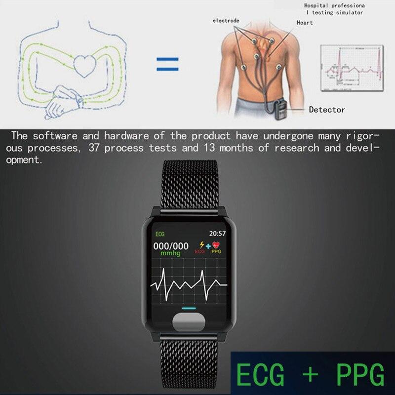 Pulsera inteligente Chycet ECG PPG reloj de medición de presión arterial para mujer Monitor de ritmo cardíaco banda de Fitness con rastreador de actividad - 2