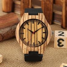 Classic Wood Watch Simple Fashion Men's Black Genuine Leathe