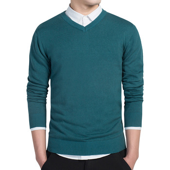 Spring mens Pure color sweater pullovers Simple style cotton knitted V neck jumpers Thin male knitwear S-3XL
