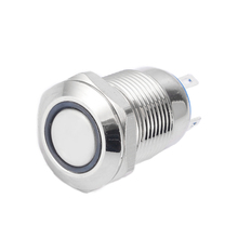 1PCS Flat Head 4 Pins Reset Metal Push Button Switch Silver 12mm Waterproof Led Light Push Button Momentary Switch стоимость