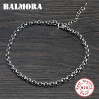 BALMORA New Arrival Authentic 925 Sterling Silver Thai Silver Simple Anklet for Women Girl Lover Fashion Vintage Jewelry SY40369