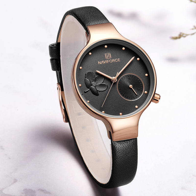 NAVIFORCE Brand Luxury Leather Fashion Watches Women Creative Rose Dial Casual Elegant Lady Quartz Wrist Watch Relogio Feminino