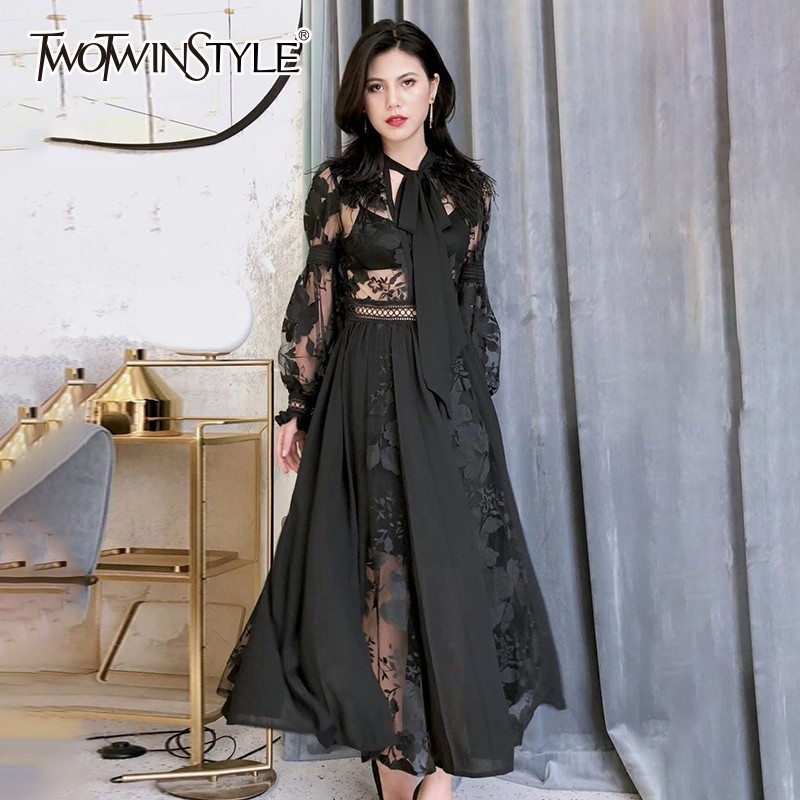TWOTWINSTYLE Elegant Dress Female Lace Up Lantern Long Sleeve Embroidery Perspective Ankle Length Dresses Women 2019