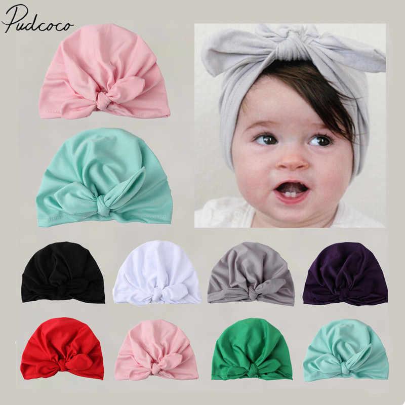 2019 nuevo bebé recién nacido niños bebé niña turbante algodón Bowknot caramelo Color sólido caliente gorro Hospital invierno tapa