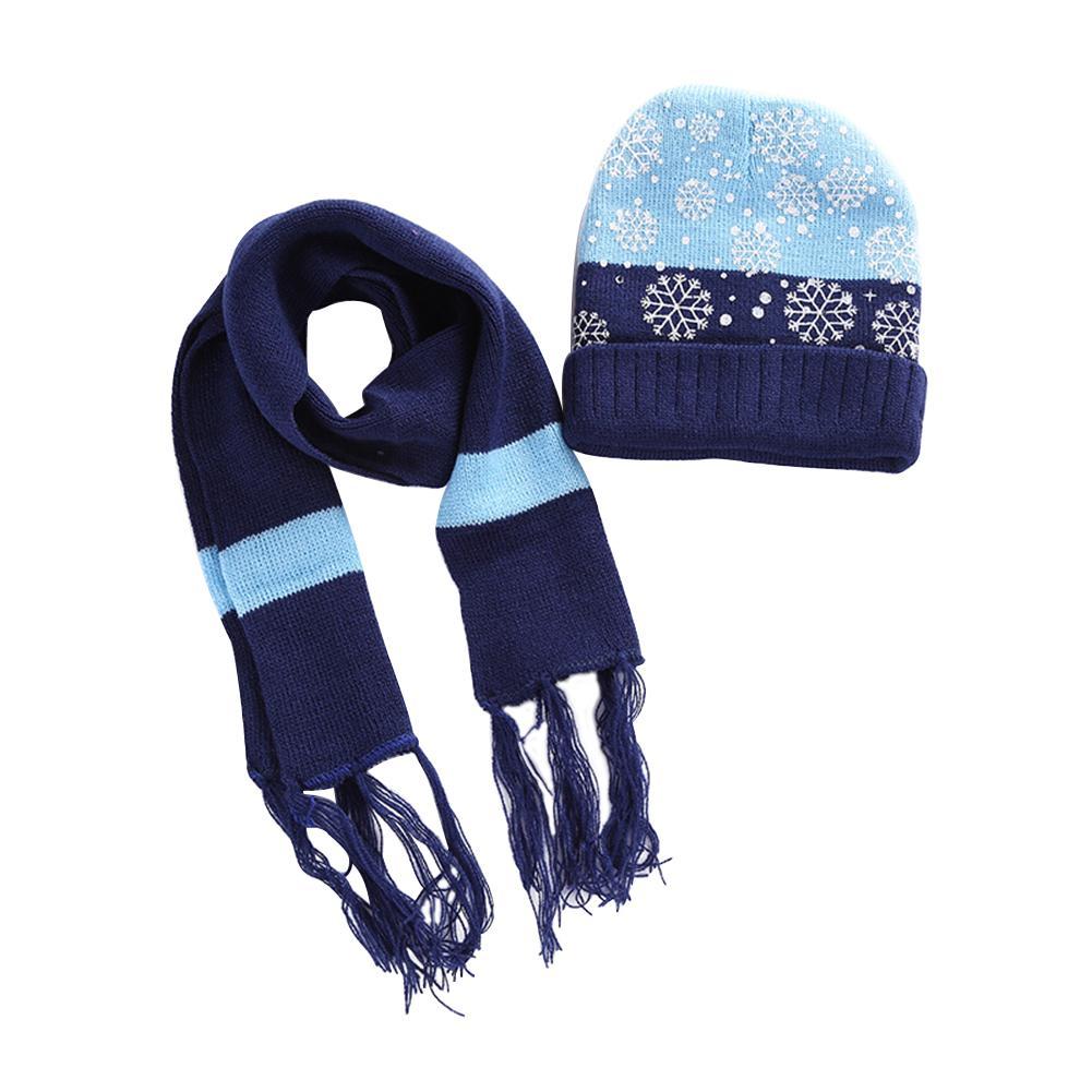 2Pcs Christmas Snowflake Autumn Winter Warm Beanie Hat Cap Scarf Boys Girls