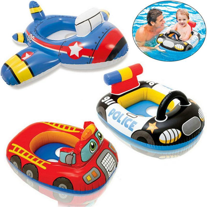 Inflatable Water Car Float Seat Boat Baby Pool Swim Ring Swimming Safe Raft Kids Swimming Boat Babies