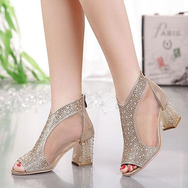 ستان القرش النساء أحذية الزفاف حذاء من الجلد صندل كعب عالى بفتحة من المقدمة فستان أحذية بلينغ الصنادل مضخة الفضة الذهب الصنادل