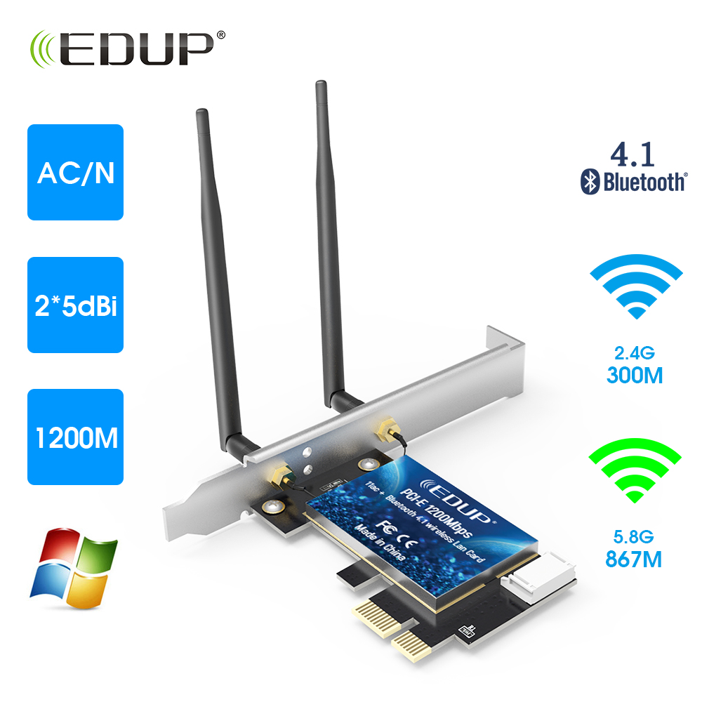 EDUP 1200Mbps PCI-E Network Card 2.4G/5G Wireless Bluetooth WiFi LAN Card PCI-EX1 Network Adapter For PC
