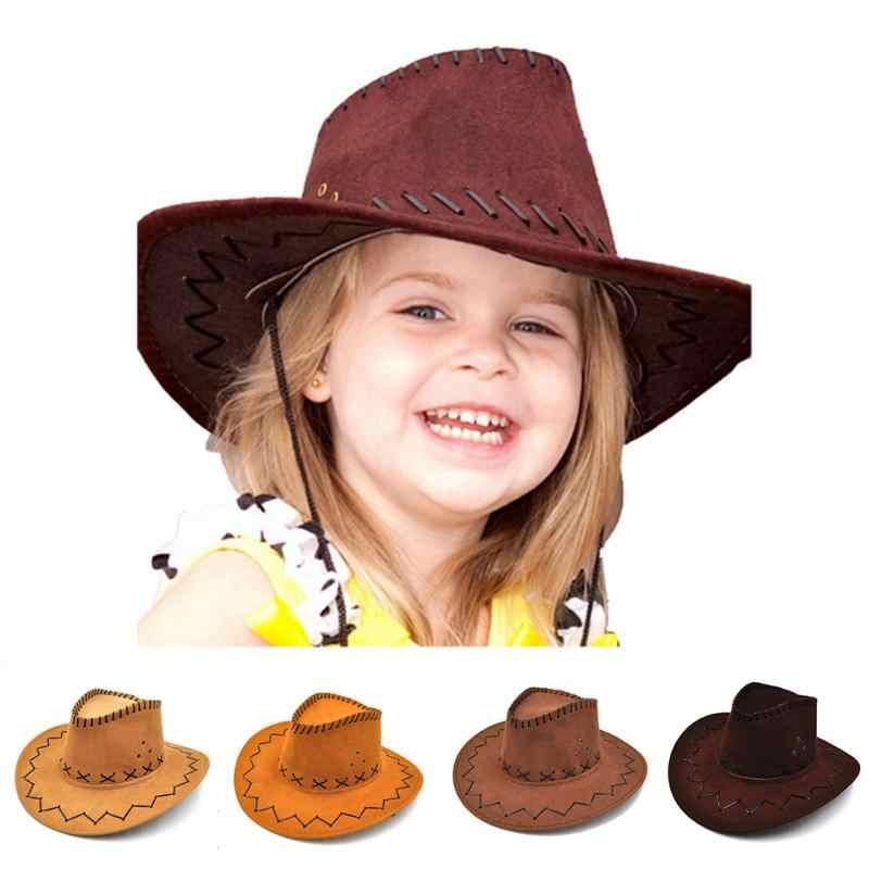 Kız Erkek Batı kovboy şapkası Geniş Ağızlı Punk Kemer Cowgirl Caz Kap Süet güneş şapkası Çocuklar Çocuklar Için
