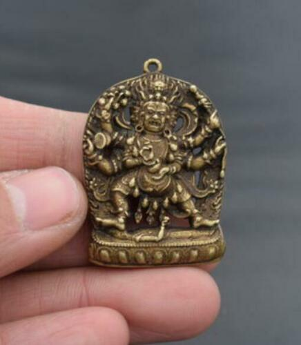 Collectable Chinese Pure Brass Carved Six Arm Buddha Exquisite Small Amulet Pendant Statues