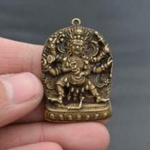 Statues Buddha Carved Small Chinese Pure-Brass Pendant Amulet Arm Six Collectable Exquisite