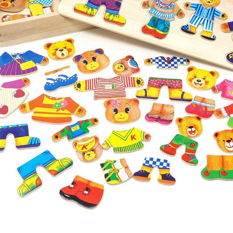 Wooden Puzzles Toys Bear Family Dress Up Puzzle Games For Kids Early Education Toys