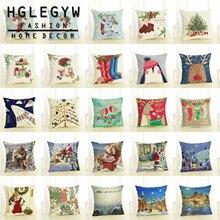 """HGLEGYW 1"""" Счастливого Рождества Хлопковый чехол подушка чехол из хлопка и льна с наволочки для домашнего офиса"""
