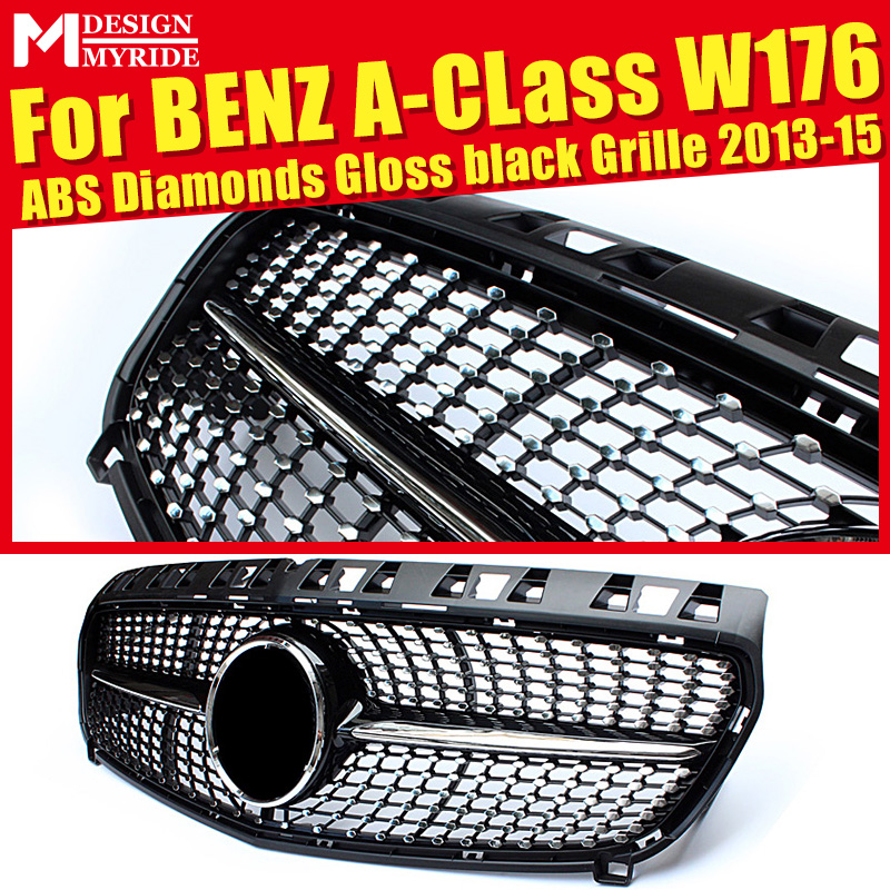 Fits For W176 Diamond Grills Grill ABS Gloss Black A-Class A180 A200 A250 A45 Without Sign Front Bumper Grille 2013-15