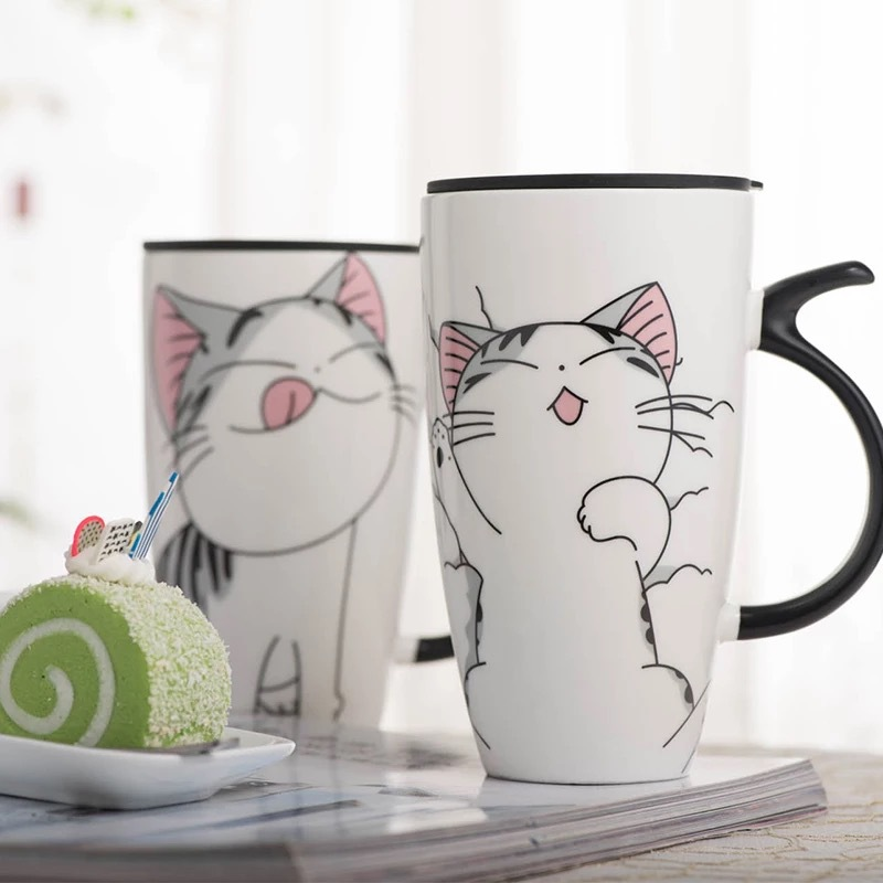 600ml Cute Cat Ceramics Coffee Mug With Lid Large Capacity Animal Mugs creative Drinkware Coffee Tea Cups Milk cup Novelty Gifts