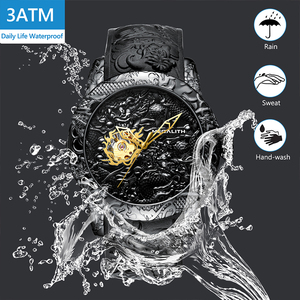 Image 2 - MEGALITH Gold Dragon Sculpture Automatic Mechanical Watches Men Waterproof Silicone Strap Quartz Wristwatch Clock Relojes Hombre