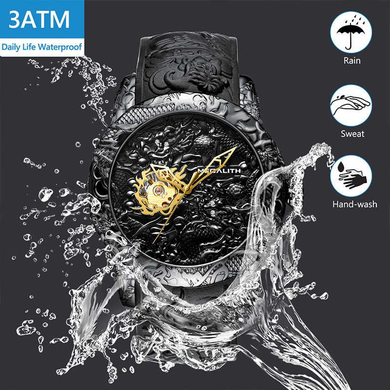 MEGALITH altın ejderha heykel otomatik mekanik saatler erkekler su geçirmez silikon kayış kuvars kol saati saat Relojes Hombre