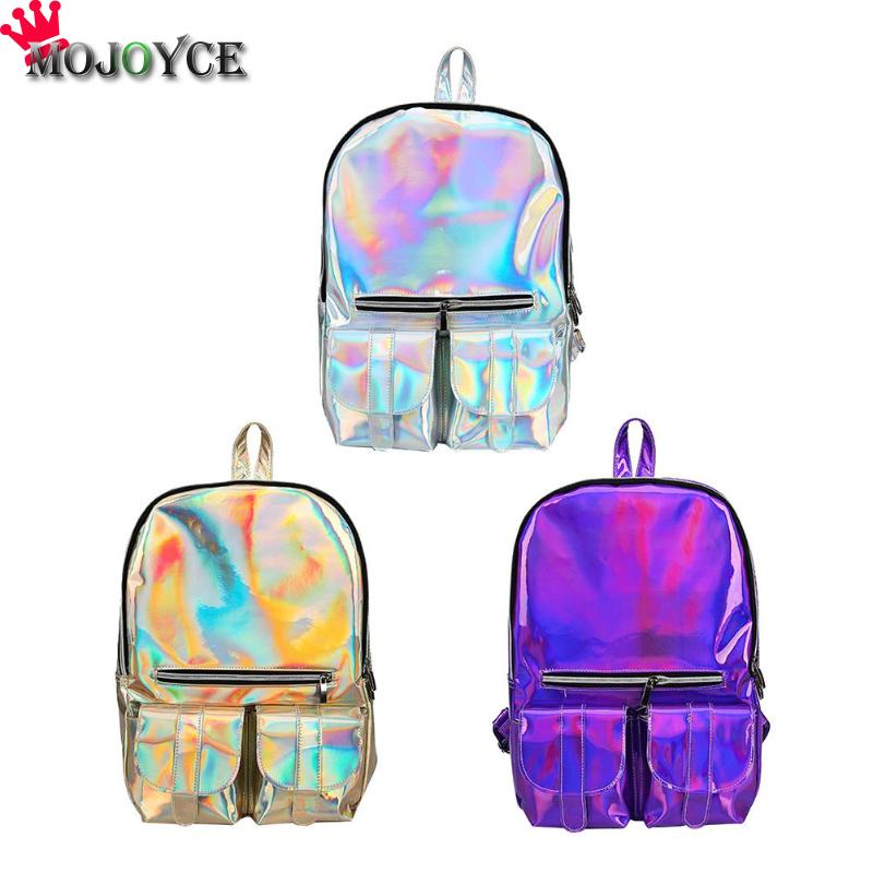 2019 Jelly Pack Lady Backpack Female Student Cute Personality Backpack Waterproof Shoulder Bag Designer Laser Shiny Backpack