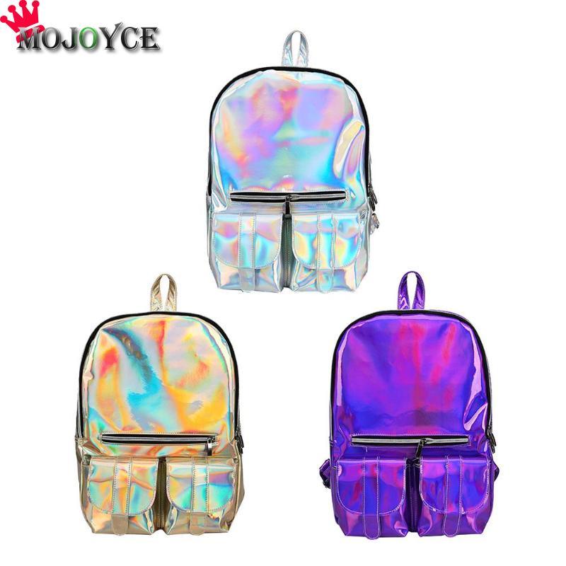 2019 Jelly Pack Lady Backpack Female Student Cute Personality Backpack Waterproof Shoulder Bag Designer Laser Shiny Backpack
