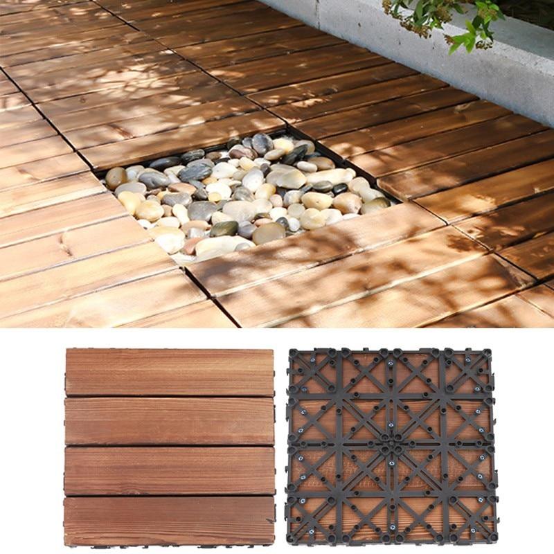 30cm*30cm Patched Garden Balcony Pave Floor Board DIY Wooden Outdoor Villa Decoration Water Proof Non Slip Compression