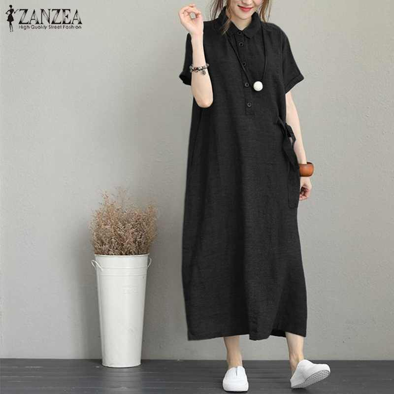 2019 grande taille ZANZEA été longue chemise robe femmes solide Vestidos décontracté revers à manches courtes lâche partie longue Maxi robe d'été hauts