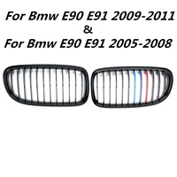For Bmw E90 E91 2005 2008&2009 2011 1 Pair Front Gloss Matt Black M Color 2 Slat Kidney Styling Grill Racing Grills replacement