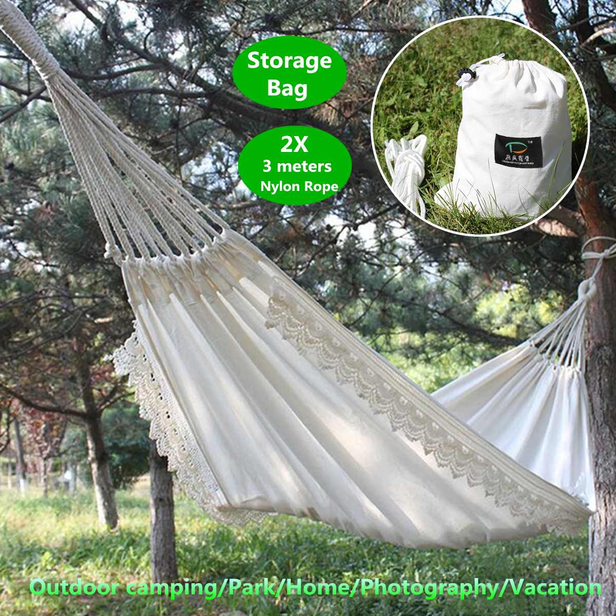Travel Hammock Lace Outdoor Mosquito Net Parachute Hammock Camping Hanging Sleeping Bed Swing Portable Double Chair Hamac White