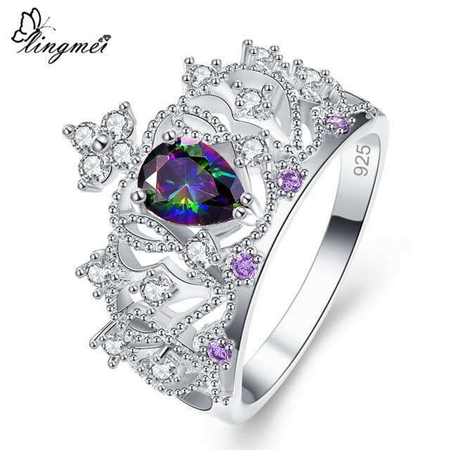 Lingmei DropShipping New Gorgeous Crown Shaped Princess Jewelry Multicolor & Sea blue Zircon Silver 925 Ring Size 6 7 8 9 10 11