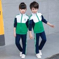 Children's clothing campus sportswear 2019 new fashion stitching boys girls set long sleeved zipper shirt + pants 4 20 years