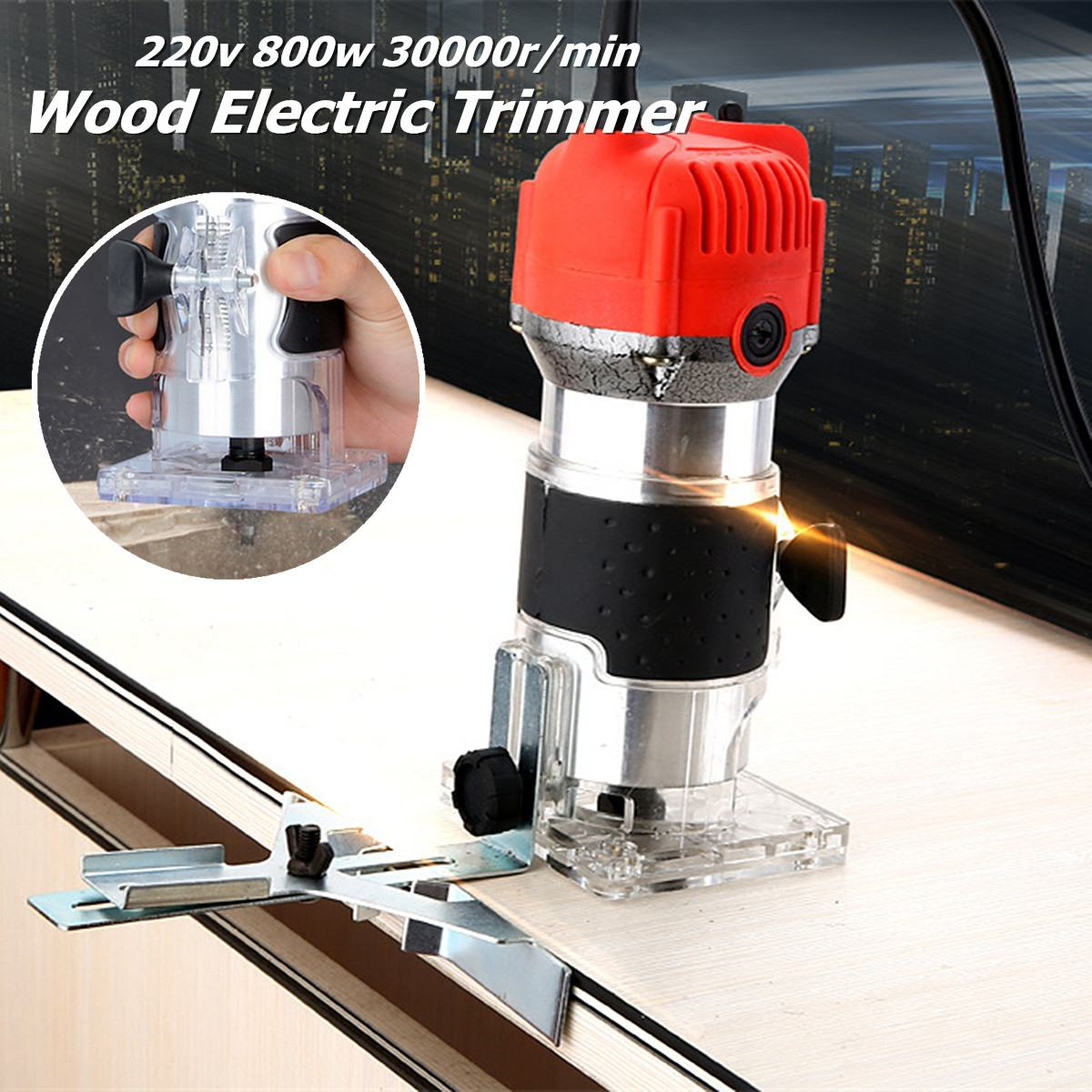 Drillpro 30000rpm Woodworking Electric Trimmer Wood Milling Engraving Tool 800W Slotting Trimming Machine Wood Router Slotting